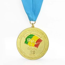 China Gold Plating Bronze Honor Custom Sports Medals Soft Enamel Colored With Ribbon supplier