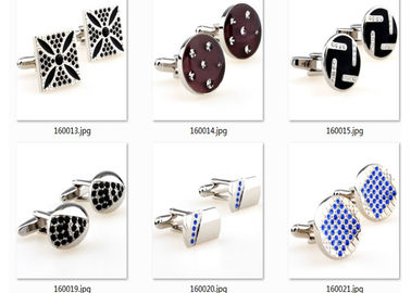 17mm Military Rhinestone Mens Wedding Cufflinks Blank Silver Onxy Hard Enamel