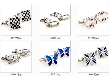 Tailored Butterfly Shape Silver Enamel Cufflinks Stud Sets Initial Letter Engraved Crystal