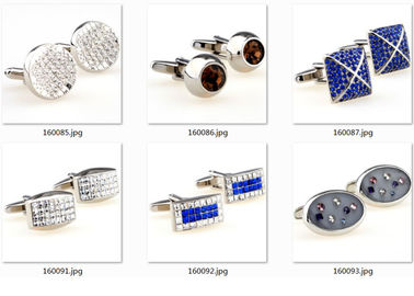 Epoxy Gold Blue Diamonds Stainless Steel Cufflinks Army Gentle Cuff Link OEM Gift