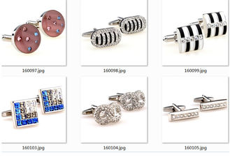 Square Stainless Steel Cufflinks Crystal Rhinestone Sliver Plating Fitting Accessories