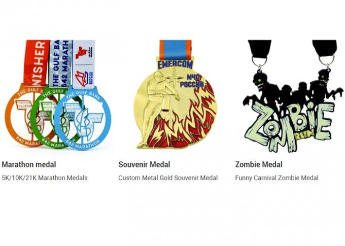 Gold Plating Bronze Honor Custom Sports Medals Soft Enamel Colored With Ribbon